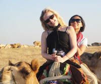 Kate & Lily on a camel, Thar Desert, India