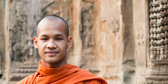 Monk at Angkor Wat, Cambodia. Photo by Lily Leung
