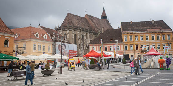 View of the back of Black Church from the Town Square. Brasov, Romania