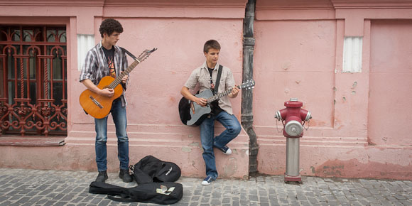 Young Performers in Old Town Brasov, Romania