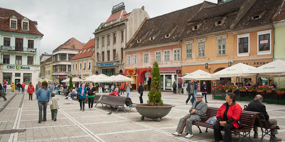 Town Square in Old Town Brasov, Romania