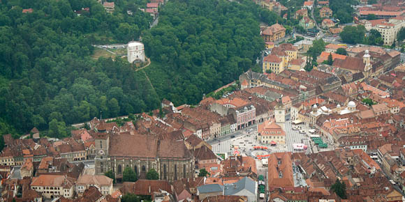 "View of Town Square, Black Church and White Tower from hill (next to Brasov ""Hollywood"" sign)"