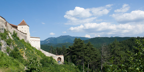 Trees and mountains, outside Rasnov Citadel, Transylvania