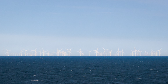Denmark off-shore wind farms, turbines on the Baltic Sea