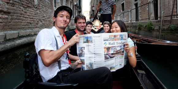 Holger Mette, other travellers and I on our free Eurail Venice gondola ride