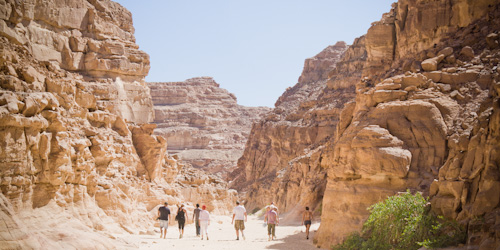 Hiking in the Coloured Canyon, Egypt.