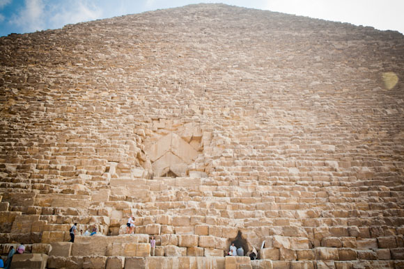 Sunny day at the Great Pyramid of Giza.