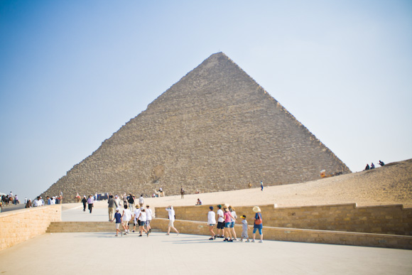 Approaching the Great Pyramid of Giza, right after the entrance