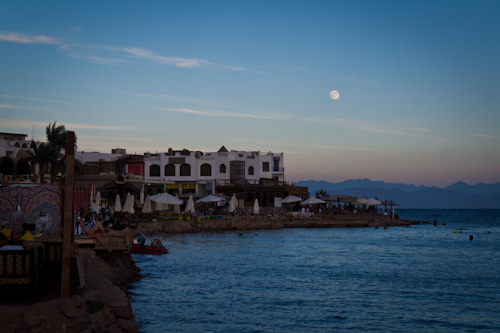 Night dive under a full moon in Dahab