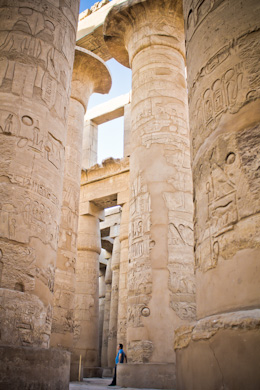 A few of the 134 columns in Karnak Temple, Luxor, Egypt