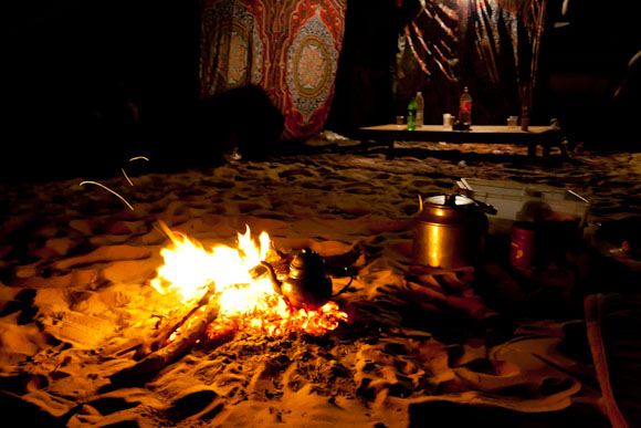 Post-dinner Egyptian tea brewing in the fire