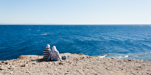 View of beach near Dahab's Blue Hole