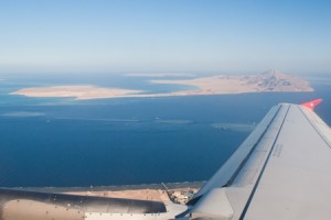 Flying over the Red Sea, from Egypt to Jordan